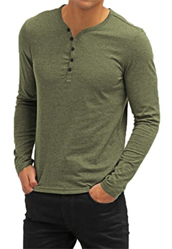 Aiyino Mens Casual V-Neck Button Cuffs Cardigan Long Sleeve T-Shirts M Army ()