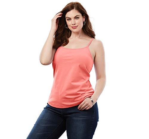 (Roamans Women's Plus Size Bra Cami with Adjustable Straps - Sunset Coral, 2X)