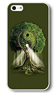 iPhone 5C Case, 5C Cases - Yin Yang Tree White Plastic Hard Bumper Case Cover for iPhone 5C