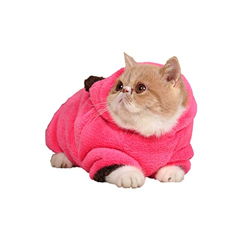 Bao Core Cats Puppy Soft Spring/Fall/Winter Cold Proof Warmer Coral Velvet 2 Sleeves Coat Sweater Clothes Hoodies Jumpsuit with Pocket(Rose,M)