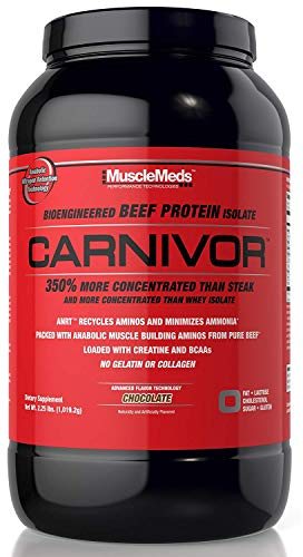 - MuscleMeds Carnivor Beef Protein Isolate Powder, Chocolate- 2.25lbs, 28 Servings