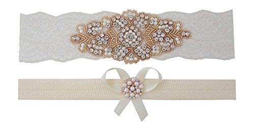 Rose Gold Garter - Bridal Garter Set (Small (16