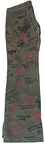 Fornarina Mujer Jeans verde caqui Army Green Club hasta hippie Punk Graffiti Impacto Barco Cut–Pantalón Impacto Impacto Jeans