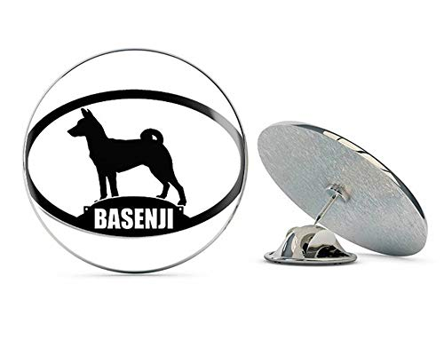 "NYC Jewelers Oval Basenji Silhouette (Dog Breed) Metal 0.75"" Lapel Hat Pin Tie Tack Pinback"