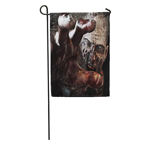 Semtomn Garden Flag Portrait of Horrible Scary Zombie Attacking Reaching for Its Unsuspecting Home Yard House Decor Barnner Outdoor Stand 12x18 Inches Flag -