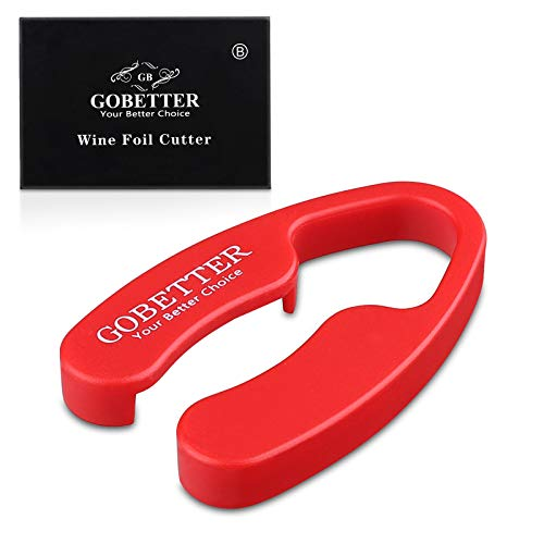GoBetter [Pack of 2] Wine Foil Cutter, 4 Stainless Blades Foil Remover for Wine Bottles - Removes Foil Top Effortlessly - Gift Box Package for Wine Lovers (Red)