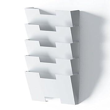 White Wall Mount Steel Vertical File Holder Organizer Rack 5 Sectional  Modular Design Wider Than Letter