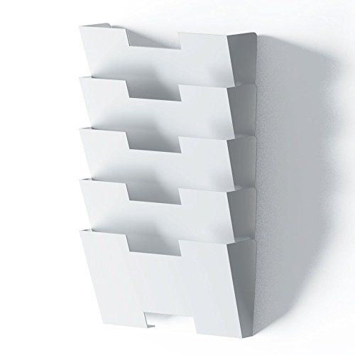 White Wall Mount Steel Vertical File Holder Organizer Rack 5 Sectional Modular Design Wider Than Letter Size 13 Inch Multi-purpose Organize Display Magazines Sort Files and (Modular Office Desks)
