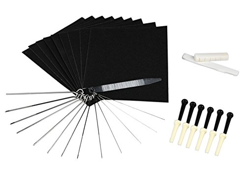 Guitar Bridge Saddle and Nut, Sand Paper, Stainless Steel Needle Files of 13 Sizes, 12pcs Acoustic Plastic Bridge Pins (Flatwound Acoustic Guitar Strings)