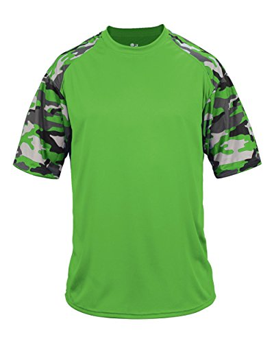 Wicking Softball Jersey - Blank Front/Back Lime Camo Adult Large Sleeve Wicking Jersey Uniform Shirt