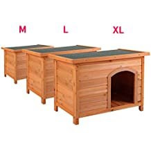 JAXPETY Pet Products Dog Club House Pet Shelter Large Home Outdoor Ground Wood Kennel Weather Resistant