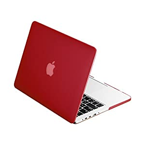 "TOP CASE - Retina 13-Inch Rubberized Hard Case Cover for MacBook Pro 13.3"" with Retina Display (Release 2012-2015) Model: A1425 and A1502 - Wine Red"