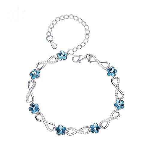 GAOQQ S925 Silver Bracelet Jewels Crystal Flower Bracelet