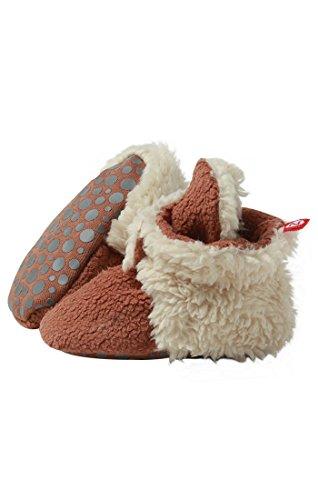 Zutano Cozie Fleece Furry Lined Bootie W Grippers Chocolate 18M