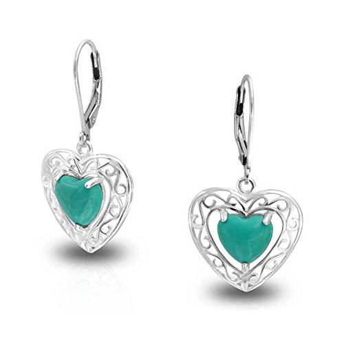 (Bali Style Stabilized Turquoise Heart Shape Fish Hook Drop Earrings For Women Scroll Filigree 925 Sterling Silver)