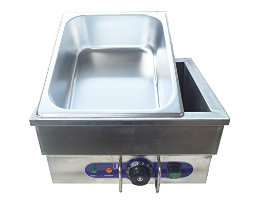 Stainless Steel Portable Steam Table Countertop Food Warmer 1500W 13×8×6in with pan and cover (Countertop Steam Table compare prices)