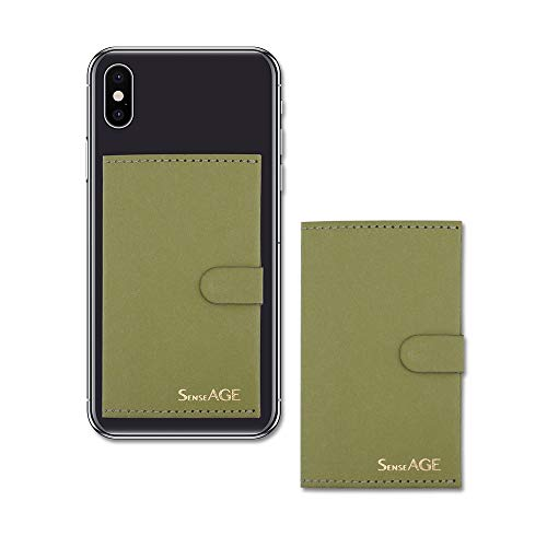 - SenseAGE (2pcs-Pack) 3M Adhesive Stick-On, Kraft Paper, Flip ID Card Holder, Stand Pad, Phone Wallet, iPhone, Samsung Galaxy, Note, Google, LG Accessory, Compatible with Most Smartphones- Olive Green