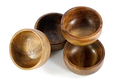 Kevin Home Small Wooden Serving Bowl, fruits, candy, nuts, Dip Sauce, Appetizer, 4 Pieces Acacia Small bowl 3