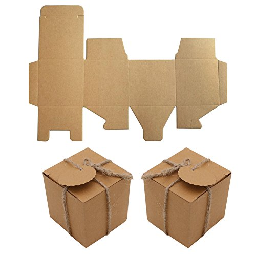 Kraft Paper Favor Boxes,50pcs Cube Candy Boxes Treat Gift Boxes with Thank You Tags for Wedding Bridal Shower Birthday Party