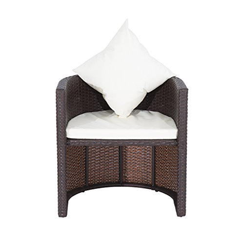 Outsunny 3 Piece Table and Chair Rattan Wicker Patio
