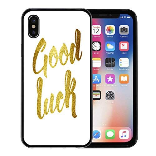 Emvency Phone Case for Apple iPhone Xs Case/iPhone X Case,Farewell Good Luck Wish Note Hand Written Lettering Brush Soft Rubber Border Decorative, Black (Best Wishes Phrases Farewell)