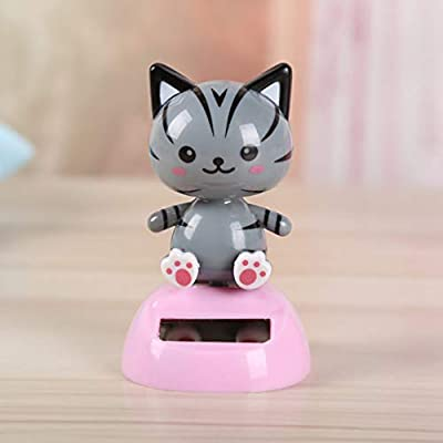 Holibanna Cat Ornament Solar Powered Dashboard Toys Car Desk Bobblehead Gift for Home Party Bedroom 2pcs: Home & Kitchen