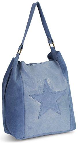 Leather Shoulder Large Strap SERENE Star Womens LIATALIA Italian Hobo Single Handbag Slouch Stone Blue Suede Shopper Real 8wR4Yq