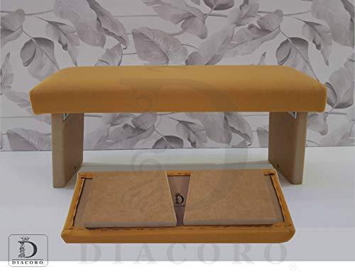 Banco de meditacion Plegable Acolchado Color Mostaza - Nuevo Modelo Mejorado de ano 2020, Taburete de meditacion en Madera de DM Acabado Natural, con Formato de Cierre facil y bisagra Reforzada