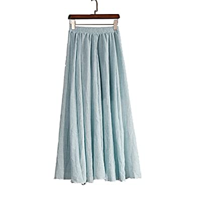 Women Full/ankle Length Pleated Retro Maxi flax Solid Long Skirt