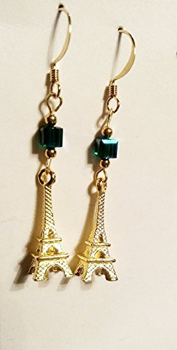 Eiffel Tower Goldplate Finish Emerald AB Swarovski Crystal - Drop Earrings