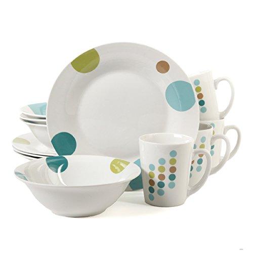 Gibson Casual Elegance 12-Piece Round Ceramic Porcelain Dinnerware Set, Retro Specks -