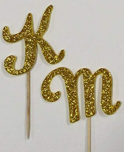(Gold Glitter Monogram Letter Initial Birthday Wedding Cupcake Topper Pick Favor (C (10)
