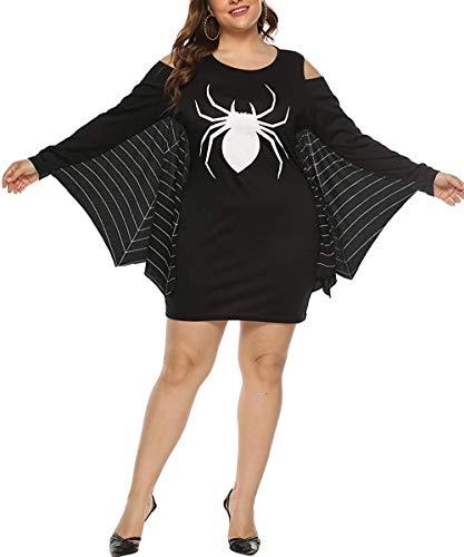 Plus Size 24 Halloween Costumes (Momodani Women's Plus Size Halloween Costumes Spiderweb Jersey Tunic Cosplay Costume)