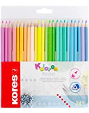 Kores Kolores Pastel coloured pencils, 12 pastel colours, trendy & pretty pastel shades for white, dark and craft paper
