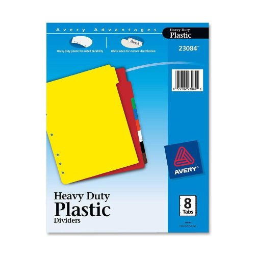 Avery - Plastic Index Dividers, White Self-Stick Labels, Eight-Tab, Letter, One Set - Pack of 20
