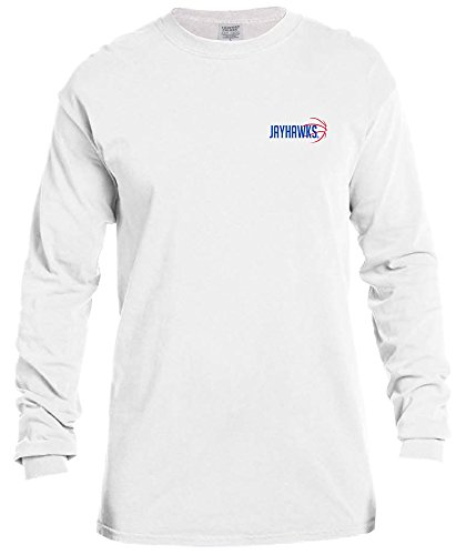 (NCAA Kansas Jayhawks Basketball Outline Long Sleeve Comfort Color Tee, Large,White)