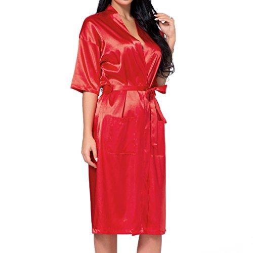 Robe Long Bride Fangcheng Silk Robe Bath Bridesmaid Accappatoio Kimono Wedding Rosso Sexy Satin Donna tpRq0