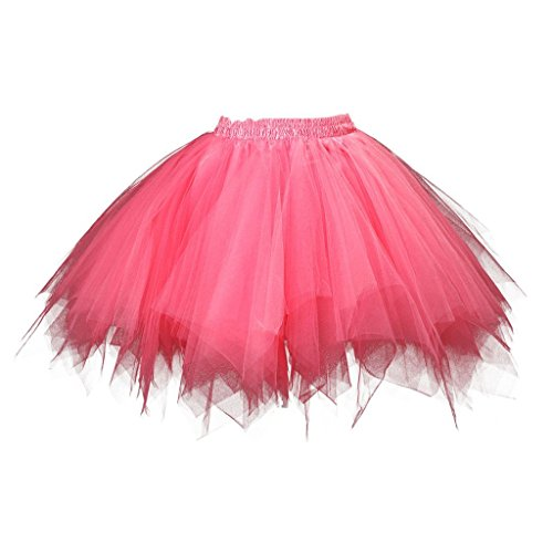 BIFINI Adult Women 80's Plus Size Tutu Skirt Layered Tulle Petticoat Halloween Tutu Watermelon Red]()