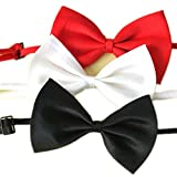 OrliverHL Selected Adjustable Dog Bow Tie Costume Collar Stripe Bow Tie Dogs Cats Puppy Tie Neck Tie - Perfect for Wedding Tie Party Accessories 3Color /Set