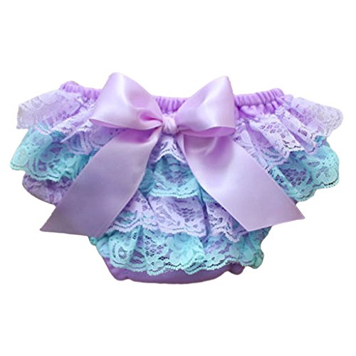 (MIOIM Adorable Baby Girls Lace Satin Bloomers Ruffle Tutu Diaper Cover Short Panties)