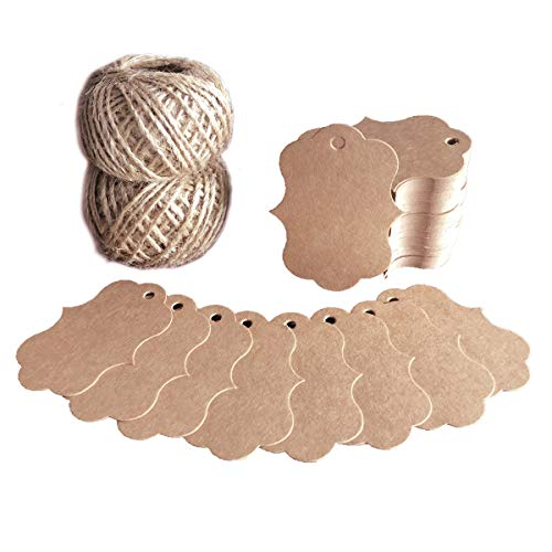 Blank Tags 200 PCS Fancy Frame Gift Tags Handmade Kraft Paper Craft Tags with 200 Feet Vintage String for Party -