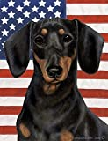 Cheap Dachshund (Smooth Haired, Black and Tan): Indoor/Outdoor House Flag (Patrioti…