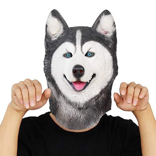 PartyCostume Máscara de Cabeza Animal de Látex de Fiesta de TrajeLujo de Halloween de Perro (Husky): Amazon.es: Juguetes y juegos