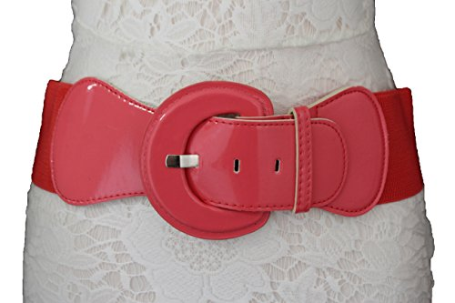 TFJ Women Fashion Belt Hip High Waist Elastic Stretch Fabric Plus Size M L Xl Coral (Wide Patent Cinch Leather)