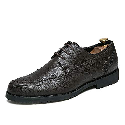 Xujw-shoes, 2018 Scarpe Stringate Basse Scarpe stringate morbide da uomo Scarpe da lavoro Oxford in pelle casual con punta rotonda (Color : Nero, Dimensione : 43 EU) Marrone
