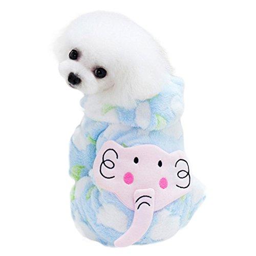 ❀AMUSTER ❀Cute Elephant Pet Clothes Manteau d'épaississement rembourré chaud hiver Costumes de chien