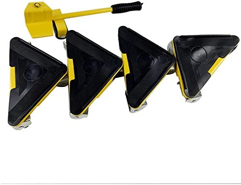 Yellow Heavy Duty Furniture Lifter with Triangle Moving Sliders Mover Tool Set Moving Appliance Roller Load for 880-1100lb 5 Packs