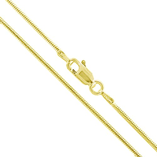 22k Yellow Gold Plated Sterling Silver Snake Chain 1.2mm Solid 925 Italy New Brazilian Necklace 30