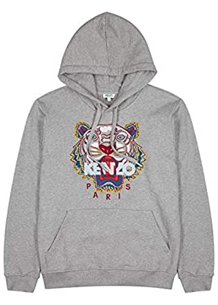 Kenzo Men's Classic Tiger Hoodie, Grey Sweatshirt (M)