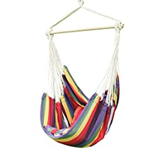 """Adeco Hammock Chair with 2 Pillows Tree Hanging Suspended Outdoor Indoor Bed, Bermuda Color, 63"""" Wide"""